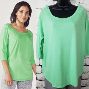 NWT Fabletics Green Palisades Tee Scoop Back XL